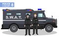 Police concept. Detailed illustration of SWAT officer, policeman and armored car in flat style on white background Royalty Free Stock Photo