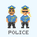 Police couple in pixel art style vector illustration set Stock Photos