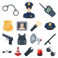 Police, Department cartoon icons in set collection for design.Detective and accessories vector symbol stock web