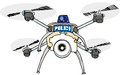 Police drone mini with four rotors and camera Stock Photography