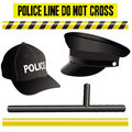 Police elements collection, hat, bat and signals Stock Image