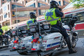 Police escorts on motorbikes oversees the order Royalty Free Stock Photo