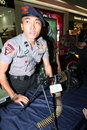 Police firearms on display in the atrium of the mall in the city of solo central java indonesia Stock Images