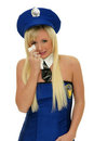 Police girl crying Royalty Free Stock Photography