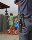 Police Guardian watching Royalty Free Stock Photo