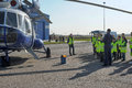 Police helicopter and children on trips white with blue st petersburg russia Royalty Free Stock Images