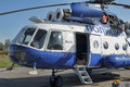 Police helicopter russia white with blue st petersburg Stock Photography