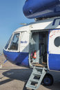 Police helicopter russia white with blue st petersburg Royalty Free Stock Image