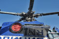 Police helicopter russia white with blue st petersburg Stock Photos