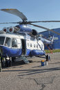 Police helicopter russia white with blue st petersburg Stock Images