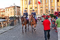 Police on horses are watching verona italy august and helping the spectators entering the arena di verona for a masterpiece of Royalty Free Stock Photo