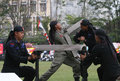 Police indonesian members showed his skill in the martial arts in solo central java indonesia Royalty Free Stock Images