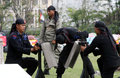 Police indonesian members showed his skill in the martial arts in solo central java indonesia Royalty Free Stock Photos