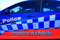 Police lettering on car door and highway patrol colorful of australian Stock Images