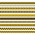 Police line, crime scene, do not cross vector seamless stripes. Set of yellow and black inhibition lines