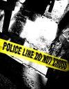 Police Line Do Not Cross Tape at Grim Crime Scene Stock Photos