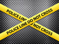 Police line metal background yellow tape on a Stock Photo