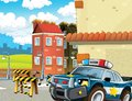 Police motor at duty illustration for the children happy and colorful Royalty Free Stock Photo