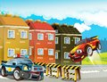 Police motor at duty illustration for the children happy and colorful Stock Photography
