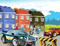 Police motor at duty illustration for the children happy and colorful Royalty Free Stock Images