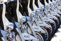 Police motorbikes aligned Royalty Free Stock Photo