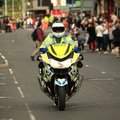 Police motorcycle closing off road, public safety, major incident Royalty Free Stock Photo