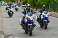 Police motorcycle escort Royalty Free Stock Photo