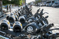 Police motorcycle in row of at a protest rally on september fortaleza brazil Stock Image