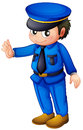 A police officer with a complete blue inform illustration of on white background Royalty Free Stock Photography