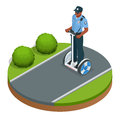 Police officer on fashionable two-wheeled Self-balancing electric scooter vector isometric illustrations. Intelligent