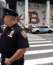 Police Officer and NYPD Vehicle, NYC, NY, USA Royalty Free Stock Photo