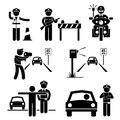 Police officer traffic on duty pictogram icon a set of human representing Royalty Free Stock Photo