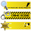 Police order horizontal banners a collection of three and crime with a magnifying glass a handcuffs and a sheriff star badge on Royalty Free Stock Photo