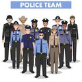 Police people concept. Detailed illustration of SWAT officer, policeman, policewoman and sheriff in flat style on white