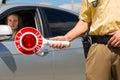 Police - policeman or cop stop car Stock Photo