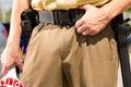 Police - policeman or cop stop car Royalty Free Stock Photos