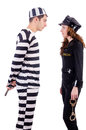 Police and prison inmate on white Stock Photos