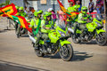 Police riding motorcycles participate in colombia s most importa barranquilla february important folklore celebration the carnival Stock Photos