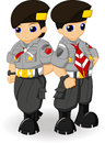 Police scout couple this is illustration of indonesian Stock Images