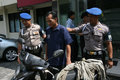 Police showed a robber who was caught in the city of solo central java indonesia Stock Images