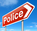 Police sign illustration depicting a directing to the Royalty Free Stock Images