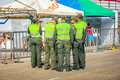 Police supervise the safety in colombia s most important folklor barranquilla february folklore celebration carnival of Stock Images