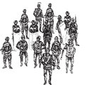 Police unit hand drawn black and white sketch of special response officers carrying machine guns and special equipment and Royalty Free Stock Images
