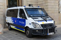 Police van at barcelona spain old city ciutat vella catalonia Royalty Free Stock Photo