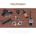 Police workspace icons, policeman working cabinet with equipment on brown wood table. Vector cop symbols in flat. Royalty Free Stock Photo