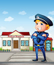 A policeman across the police station illustration of Royalty Free Stock Photos