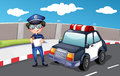 A policeman along the road illustration of Royalty Free Stock Photos