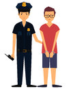 Policeman arrested the offender young angry man in handcuffs vector illustration Stock Images