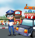 A policeman at a busy street illustration of Stock Photo