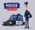 Policeman character and police car. Cartoon vector illustration
